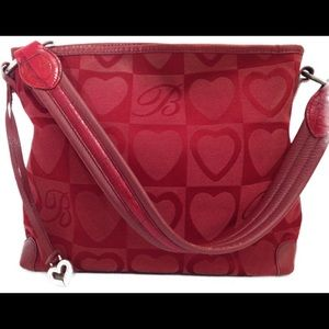 Brighton Red Heart Canvas Leather Shoulder Purse
